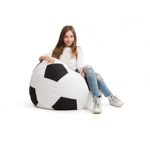 idealpuf Puff Pelota de fútbol en Blanco y Negro de 70x70 cm niños y niñas hasta los 11 años