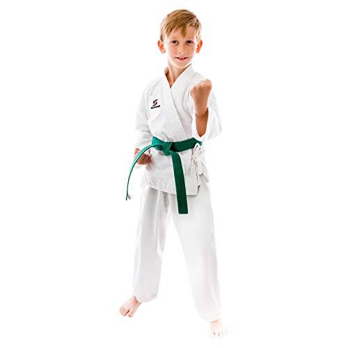 Supera Kinder Karate Anzug weiß - Karateanzug mit weißem Gürtel - 3 Teiliger Karate Gi mit Karatehose, Jacke und Karate Gürtel.