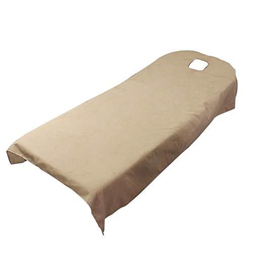 Telo di copertura per lettino massaggiante SPA con foro per il viso, per il salone di bellezza e per massaggi, telo da letto (120 x 190 cm, cammello)