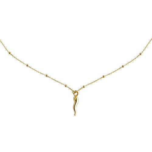 FRONAY 14k Gold Plated Silver Small Italian Horn Necklace Cornicello Good Luck Pendant
