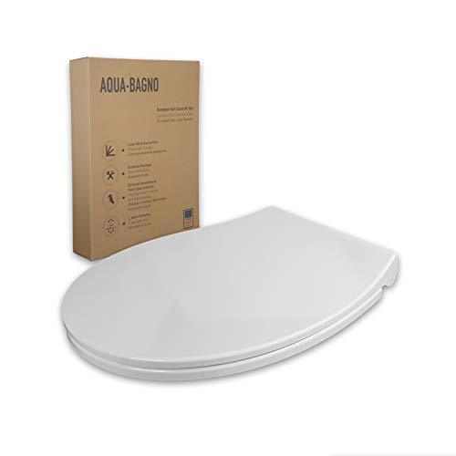 Aqua Bagno | WC Sitz und Toilettendeckel mit Absenkautomatik, made in EU, antibakteriell, Klodeckel in O-Form, flach, abnehmbar, WC Brille aus Duroplast, Softclose, Weiß | Largo (Modell)