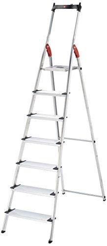 Hailo XXL - Escalera doméstica de aluminio, peldaños extra anchos, bandeja multifuncional, gancho para cubo y pinza para cable (7 peldaños)