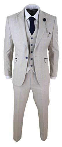 House Of Cavani Herrenanzug 3 Teilig Creme Tweed Design Peaky Blinders Retro Stil Klassisch