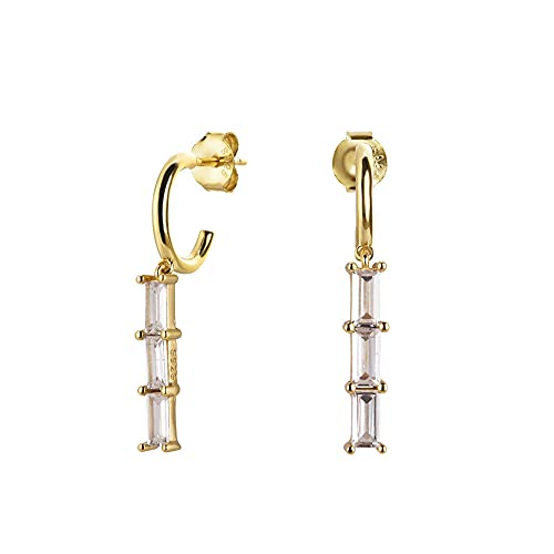 Línea de Plata de Ley 925, llantas de arcoíris coloridas, pendiente largo y redondo, circonita, cristal para mujer, joyería de boda de lujo, 1 par de oro