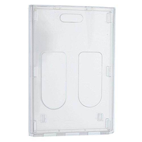 3 Pack - Heavy Duty Crystal Clear 2 Card Badge Holder (Holds Two Cards) - Vertical Dual Sided Card Cases - Polycarbonate Rigid / Hard Plastic with Secure Top Load by Specialist ID