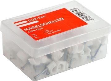 Preisvergleich Produktbild 2 Stück - DUR-line Kabelschellen / Nagelschellen für Kabel Ø: 4 mm weiß Box: Inhalt 100 Stk