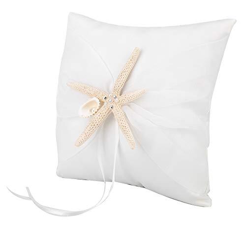 ZHHZ Anillo de boda, anillo de almohada de marfil con estrella de mar (20 x 20 cm)