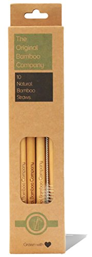 10 Pailles et brosse de nettoyage en bambou naturel par The Original Bamboo Company