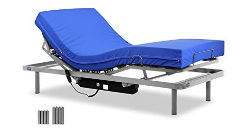 Gerialife® Cama articulada con colchón Sanitario viscoelástico Impermeable (105x190)