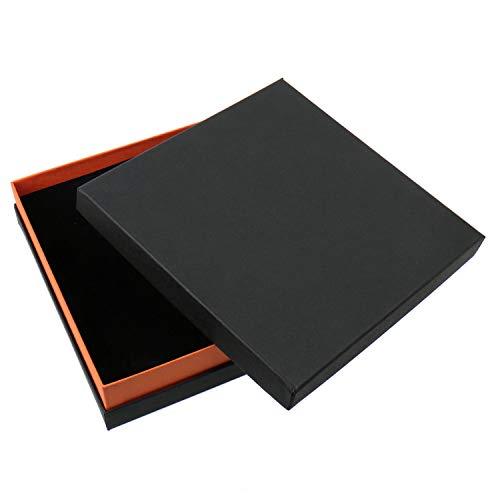 Schmuckboerse24, scatola portagioie di gioielli di alta qualità, astuccio per gioielli, custodia per collane, orecchini, parure, nero e arancio, 16,5 x 16,5 x 4 cm