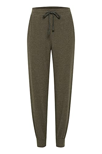 ICHI IHKYLA PA Strick-Pants Damen Sweathose Sweatpants Relaxhose, Größe:L, Farbe:Ivy Green (190512)