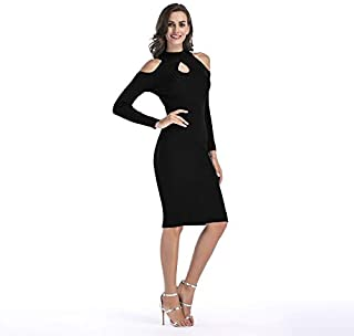 ZCLAU Strapless Knit Dress Slim Package Hip Skirt Dress (Color : Black, Size : M)