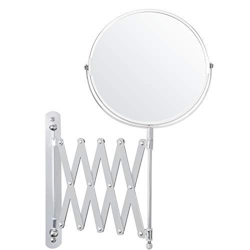 Belle Vous Specchio Rotondo da Parete 17,5 x 18,5 cm con Testa Girevole 360° - Specchio Trucco Ingranditore 3x Estensibile Acciaio Inox - Specchio Parete Rotondo Rotante - Specchio Ingranditore Trucco