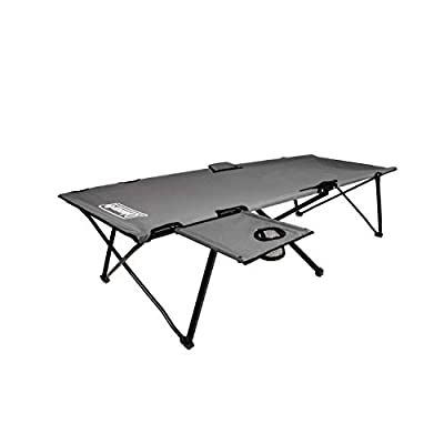 Coleman Camping Cot with Side Table | Pack Away Folding Cot with Table and Cup Holder