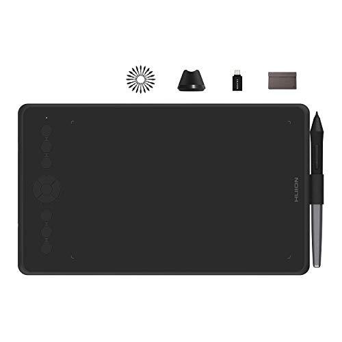 HUION Tableta Gráfica Inspiroy Ink H320M Doble Propósito Innovador Tableta Gráfica Y Tableta de Escritura LCD, 8192 Niveles, Función de Inclinación, Android, Bolsa de Manga, Negro