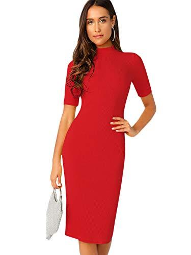 SheIn Women's Short Sleeve Elegant Sheath Pencil Dress X-Small Mock Neck Red