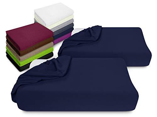npluseins 2er Pack Spannbezüge Kissenbezüge für Gesundheitskissen 1450.2049, Spannbezug für Gesundheitskissen, Navyblau