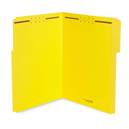 Blue Summit Supplies Yellow File Folders with Prongs, Legal Size, and 1/3 Cut Reinforced Tabs, Durable 2 Prongs, Designed to Organize Standard Medical or Law Files, 50 Pack