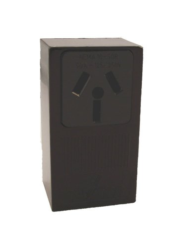 Leviton GIDDS-100765 5050 B01-0-000 Electrical Receptacle, 125/250 Vac, 50 A, 3 Pole, 3 Wire, Pack of 1, Black