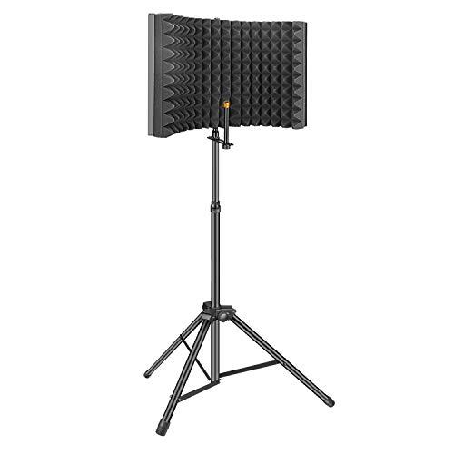 Filtro Anti-pop,Aokeo Studio Recording Microphone Isolation Shield, Pop Filter.Absorbe y Filtra el Sonido.Adecuado para Blue Yeti y Cualquier Micrófono de Condensador (AO-302 con Soporte)