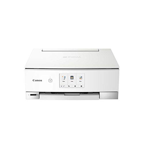 Canon PIXMA TS8351 Drucker Farbtintenstrahl Multifunktionsgerät DIN A4 (Scanner, Kopierer, 4.800 x 1.200 dpi, 6 separate Tinten, USB, WLAN, Duplexdruck, 2 Papierzuführungen, 5 GHz Support) weiß