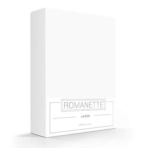 Romanette Laken 100% Katoen Wit 100% Katoen 1-persoons laken 150x250