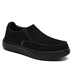 Arch Support Casual Shoes with Pain Relief, Men's Slip-on Shoes, Men's Leather Shoes, Comfortable Casual Shoes for Walking Black Size 10