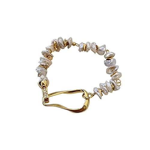 WQSMSZ Fashion Shining Lucky Broken Silver Pearl Bracciale Donna Stile retrò in Metallo Europeo E Americano 16 Cm / 6,3 Pollici