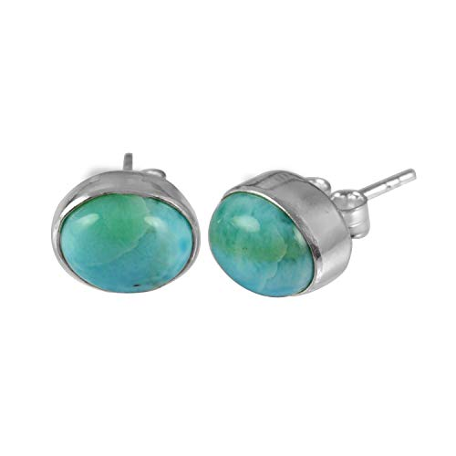Silver Palace Natural Oval Cab Larimar Gemstone 925 Sterling Silver Small Tiny Stud Earrings For Women & Girls Gift