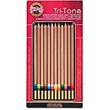 Koh-I-Noor Tri-Tone Multi-Colored Pencils, Assorted Lead, Set of 12