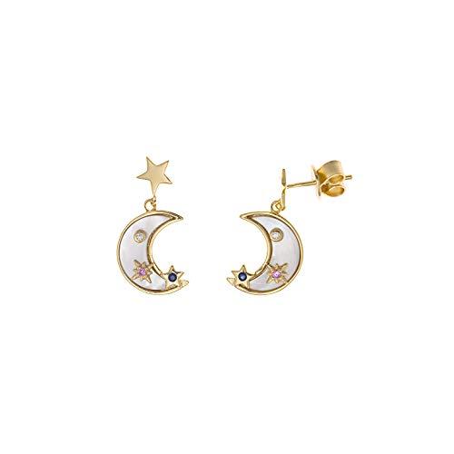 Pendientes Mujer Lunas y Estrellas Plata Chapada Piedras Nácar Tamaño 13 x 23 mm Salvatore Plata