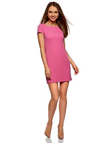 oodji Ultra Mujer Vestido de Tejido Texturizado con Escote Barco, Rosa, ES 42 / L