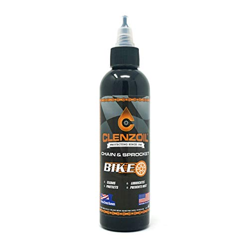 Clenzoil Chain & Sprocket Bike 4 oz. Bottle | Cleaner Lubricant Protectant [CLP] | Bike Chain Cleaner + Chain Lube in One | Wet Lube Application, Dry Lube Performance