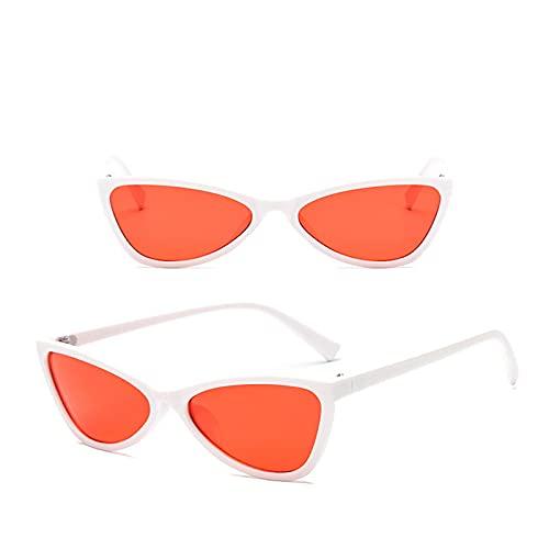 Astemdhj Gafas de Sol Sunglasses Gafas De Sol De Ojo De Gato para Mujer/Hombre, Gafas De Diseñador para Mujer, Montura Pequeña, Gafas De Sol, Espejo Vintage, Oculos De Sol, BlanAnti-UV
