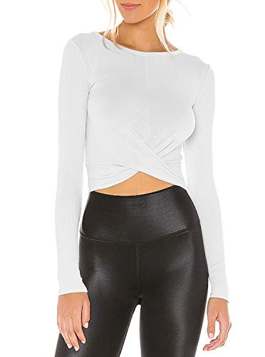 LASLULU Long Sleeve Crop Tops for Women Cross Wrap Workout Shirts Compression Muscle Tops Athletic Sexy Yoga Shirts Gym Running Clothes(White S)