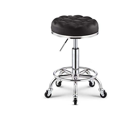 Tuqia - Silla de belleza con ruedas, con 5 ruedas, taburete elevador, para estudio, oficina, clínica, acolchado, taburete, salón de belleza de segunda mano