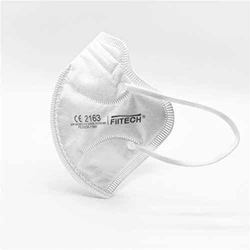 Filtech Mascarillas FFP2 50 Uds Calidad Hospitalaria CE 2163 Homologada 5 Capas >96% Filtración NR Desechables Blancas Especial antiempañamiento gafas Incluye Salvaorejas