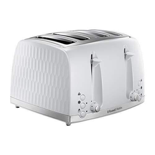 Russell Hobbs 26070 4 Slice Toaster - Contemporary Honeycomb Design with Extra Wide Slots and High Lift Feature, White