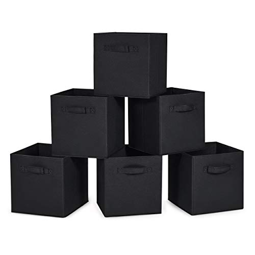 MaidMAX Cloth Storage Cubes Bins with Dual Handles for Home Closet Nursery Drawers Organizer Foldable Black 105×105×11 inches Set of 6