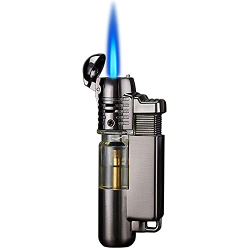 Yeuligo Butane Lighter, Mini Torch Lighter with Visible Window, Adjustable Jet Flame Windproof Lighter with Key Ring, Pocket Lighter for Grill BBQ Candle Camping Fireplace, Grey (Without Butane Gas)