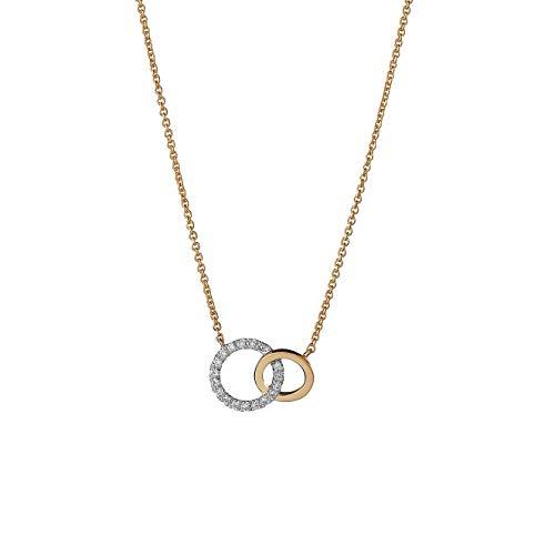 Orphelia KD-2036 18 Karat Yellow Gold Necklace 2 Circles with 0.07 ct diamonds