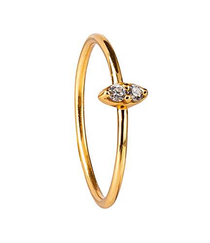 SIX Vergoldeter Ring aus 925er Silber mit Zirkoniasteinen- Größe: 52 (728-885)