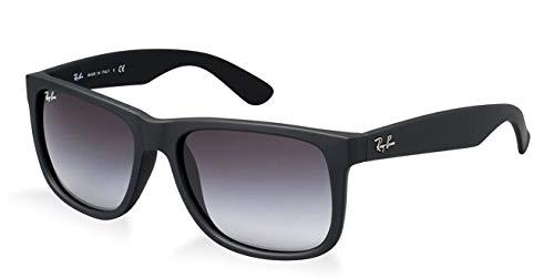 Ray-Ban JUSTIN RB 4165 601/8G Unisex Sonnenbrille, Rubber Black / Grey Gradient, L