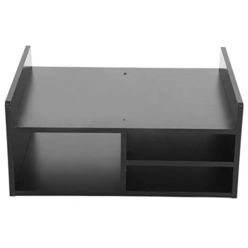 Monitor Stand,2Tier Multifunctional Printer Stand Desktop Printer Stand Computer Riser Desktop Shelf Wood Desk Organizer Monitor Stand with Large Storage Shelves for Home Office Black,51x38x23cm