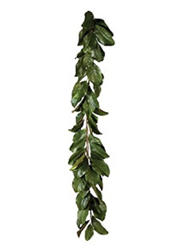 American Best Magnolia 5' Garland or 28' Magnolia Wreath in All Green Leaves or Mixed Burgundy and Green Leaves Buyers' Choice (Green Garland)