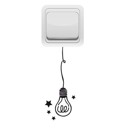 Sticker Interrupteur - Ampoule - Aspect Brillant Noir