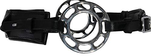 Reitsport Amesbichler AMKA Hackamore aus Leder 3fach verstellbar Lederpolsterung gebisslos mit Wheel-Rad