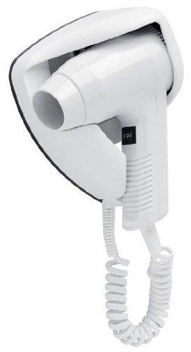 JVD Petit Sèche-Cheveux Mural Piccolo Bi-Voltage 1200W - Blanc