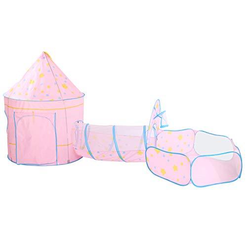 Interior Social Play 3pcs Kid Crawling Tunnel, Tunnel Play Tent Play Tent, para niños pequeños Aventuras de fondo Niños(Pink three-piece suit)