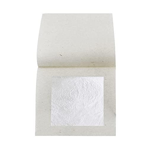 KIRIN Foglia d'Argento Commestibile, 6 cm x 6 cm 20 Pezzi Foglia d'Argento Puro per Cucina, Torte e Cioccolatini, Decorazione, Maschera per la Salute e la Spa